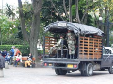 Military chillin in central Bogota